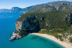 AERIAL VIEW OF THE FAMOUS AND BEAUTIFUL CALA LUNA BEACH IN SARDINIA