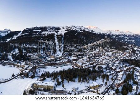 Aerial view of the famous Crans Montana ski resort in the Swiss alps in Canton Valais, Switzerland, in winter Photo stock ©