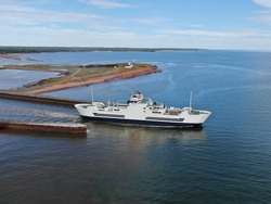 Aerial view of the ferry between NS and PEI at Wood Islands, Prince Edward Island