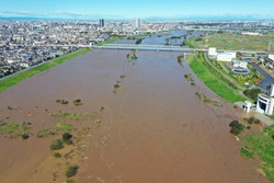 Aerial view of the flooded Edogawa