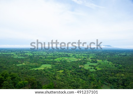 aerial view of the forest in thailand. #491237101