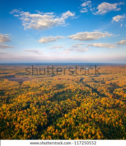 Aerial view of the forest under clouds during the autumn. - stock photo