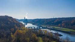 Aerial view of the Fort Martin coal powered power station near Morgantown in West Virginia