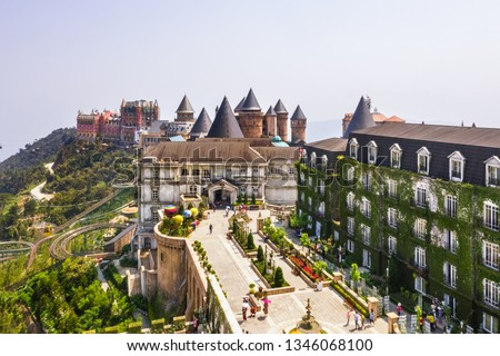 Aerial view of the French village on the top of Ba Na mountain, with beautiful castles, buildings, streets and campuses at the famous tourist destination of Da Nang, Vietnam. Near Golden bridge Zdjęcia stock ©