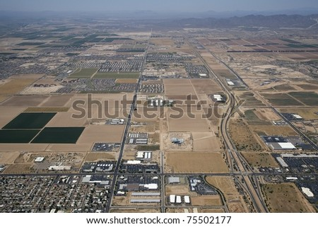Aerial view of the Goodyear, Arizona area west of Phoenix