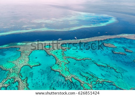 Aerial view of the Great Barrier Reef #626851424