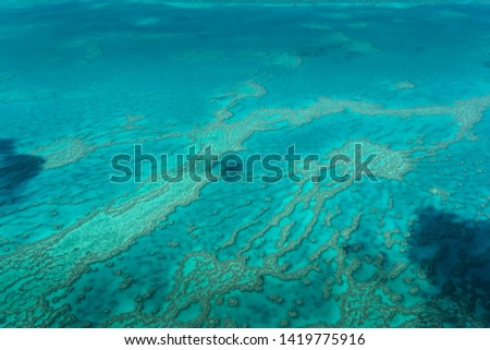 Aerial View of the Great Barrier Reef, The Whitsunday Islands Queensland, Australia. High Resolution Photography.