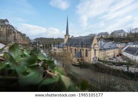 Aerial view of The Grund with Neumunster Abbey and Alzette River - Luxembourg City, Luxembourg Stock photo ©