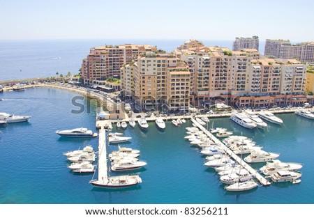 Aerial view of the harbor of Monaco