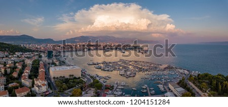 Aerial view of the harbour and port of Split, Croatia, during the evening light just before sunset.
