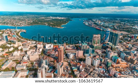 aerial view of the haven of peace, city of Dar es Salaam Stock fotó ©