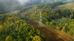 Aerial view of the high voltage power lines and high voltage electric transmission on the terrain surrounded by trees at sunlight