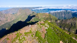 Aerial view of the highest peak of Madeira island, Pico Ruivo.