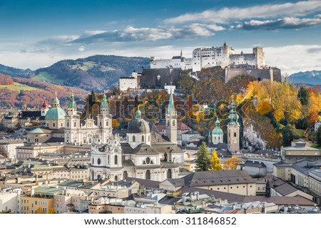 Aerial view of the historic city of Salzburg with Hohensalzburg Fortress in beautiful evening light in fall, Salzburger Land, Austria