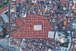 Aerial view of the historical Grand Bazaar in Istanbul, Turkey