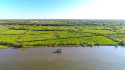 Aerial view of the house flooded in La Loire river near Nantes, Coueron, France.