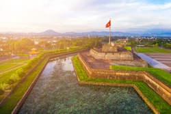 Aerial view of the Hue Citadel in Vietnam. Imperial Palace moat ,Emperor palace complex, Hue city, Vietnam. Travel and landscape concept