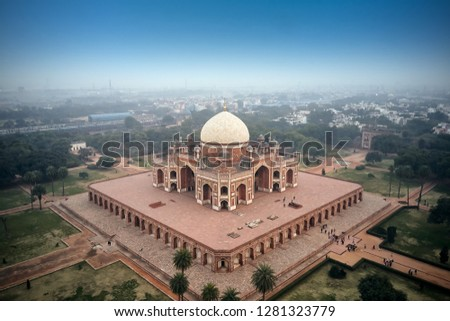Aerial view of the Humayun's Tomb in Delhi, India. Humayun's tomb is the tomb of the Mughal Emperor Humayun #1281323779