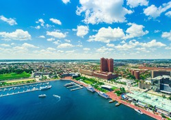 Aerial view of the Inner Harbor of Baltimore, Maryland
