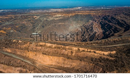 Aerial view of the Iron ore mining, Panorama of an open-cast mine extracting  Foto d'archivio ©
