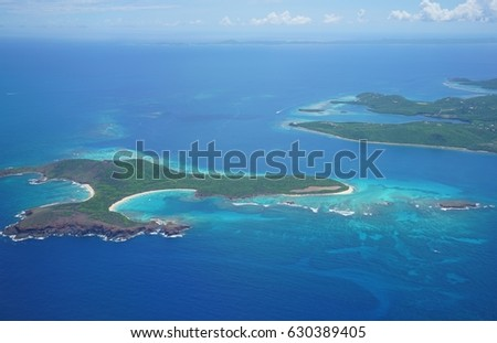 Aerial view of the islands of Culebra and Cayo Norte in Puerto Rico #630389405