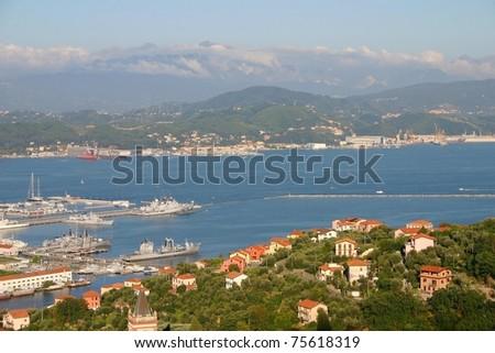 Aerial view of the Italian coast