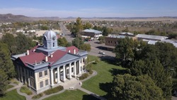 Aerial view 2 of the Jeff Davis County Courthouse. Located in Fort Davis, Texas. The town, county and fort were named after President of the confederacy Jefferson Davis.
