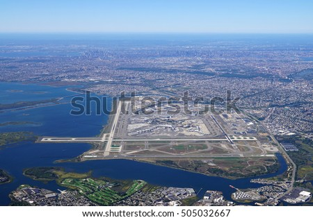 Aerial view of the John F. Kennedy International Airport (JFK) in Queens, New York Stock fotó ©