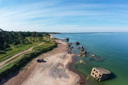 Aerial view of the Karosta coast littered with abandoned fortifications of tsarist Russia. Karosta Naval Base is a former Russian imperial and Soviet naval base on the Baltic Sea. Liepaja, Latvia