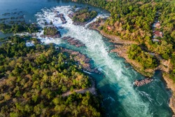 Aerial view of The Khone Falls and Pha Pheng Falls, waterfalls the