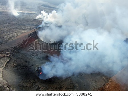 Aerial view of the Kilauea Volcano on the Big Island of Hawaii.
