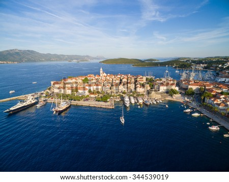 aerial view of the korcula...