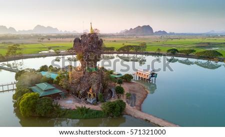 Aerial view of the Kyauk Kalap pagoda, Hpa-An, Myanmar Stock fotó ©