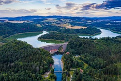 Aerial view of the lake dam. Pilchowice village on Lower Silesia.
