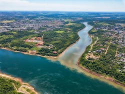 Aerial view of the landmark of the three borders (hito tres fronteras), Paraguay, Brazil and Argentina in the Paraguayan city of Presidente Franco near Ciudad del Este.
