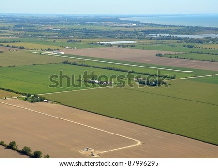 aerial view of the Leamington airport with point Pelee in the background; Leamington Ontario Canada