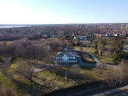 Aerial view of the Lieutenant Governor's residence in Charlottetown, Prince Edward Island