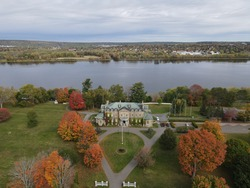 Aerial view of the Lieutenant Governor's residence in Fredericton, New Brunswick in the Fall
