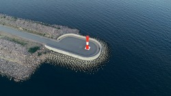 Aerial view of the Lighthouse on the fairway in the Gulf of Finland, navigation is open, summer time.
