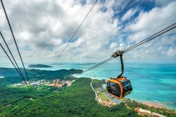 Aerial view of The Longest Cable Car situated on the Phu Quoc Island in South Vietnam. View on area Thom island, Kien Giang