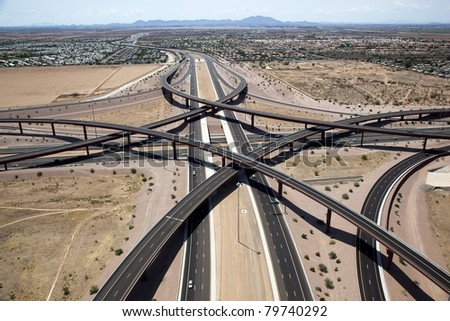 Aerial view of the Loop 202 Red Mountain and the Route 60 Superstition Freeway Interchange in east Mesa, Arizona