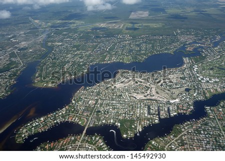 Aerial view of the Loxahatchee River in Tequesta, Florida