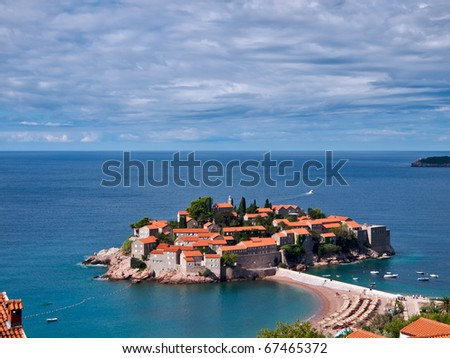 Aerial view of the Luxiry Hotel made from Sveti-Stefan island in Montenegro