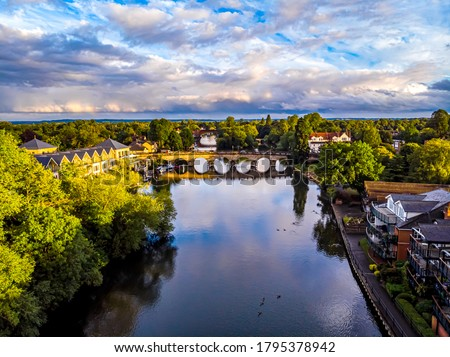 Aerial view of the Maidenhead and the river Thames, UK