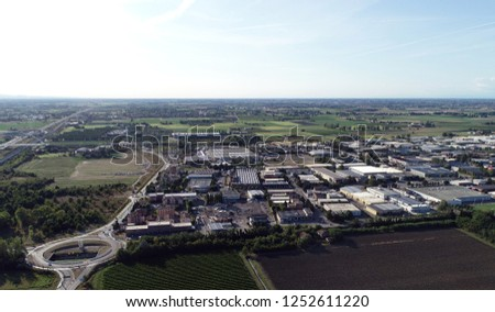 Aerial view of the Mancasale industrial district and the fair district of Reggio Emilia, Italy