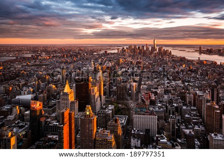 Aerial view of the Manhattan skyline at sunset #189797351