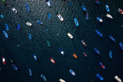 Aerial view of the many anchored boats off the coast. Las Teresitas, Tenerife, Canaries, Spain