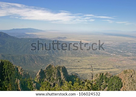 Aerial view of the Manzano and Sandia mountains and part of Albuquerque, New Mexico
