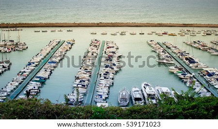 Aerial view of the Marina at the harbour front of Numara, Marche, Italy #539171023