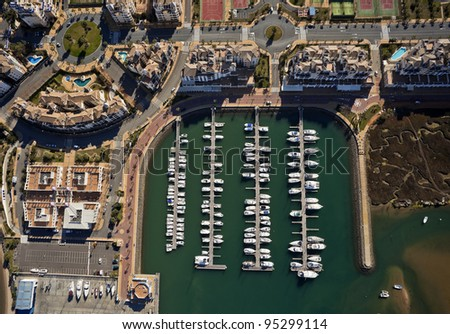 aerial view of the marina of Isla Canela in Ayamonte, Huelva, Andalusia, Spain